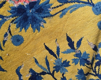 Antique silk tapestry late 1800s, armchair sample,  yellow, blue navy bouquet floral print, upholstery, cushion, vintage textile
