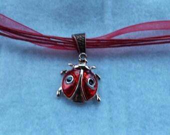 Handmade ladybug necklace