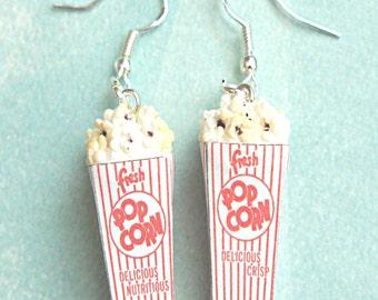 popcorn earrings- miniature food, movie earrings, carnival jewelry