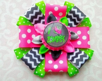 Zombie Hair Bow, I love Zombies, The Walking Dead Hair Bow, Valentines Day, Polka Dot, Chevron, Gift Bow, Diaper Cake Topper, Embellishment