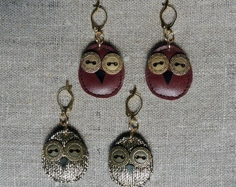 Handmade fabric bird earrings