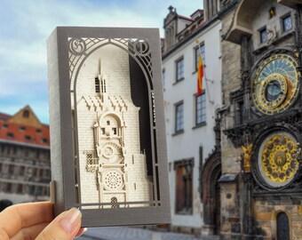 Pop up card 3d cards paper models architecture Prague Astronomical clock, Prague Orloj, Pražský orloj, amazing paper miniature architecture