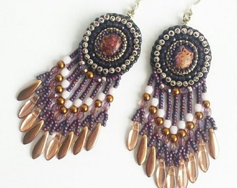 Bead embroidery fringed earrings, purple jaspis gemstone cabochons, lead and nickelfree earring hooks, gypsy style, boho, gift .