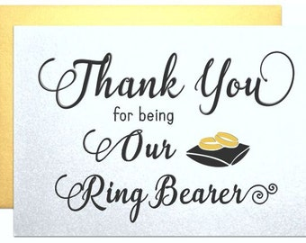Ring bearer card from bride, thank you ring bearer card, wedding party wedding day cards bridal party gifts from bride groom thank you cards