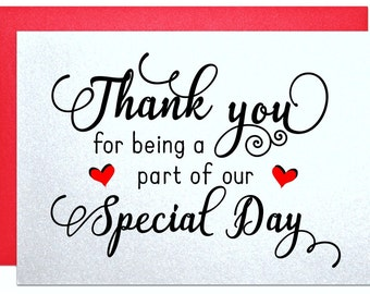 Wedding Thank You Notes Wedding Thank You Cards thank you for being a part of our special day wedding party cards from the bride and groom