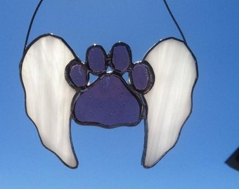 Paw print stained glass