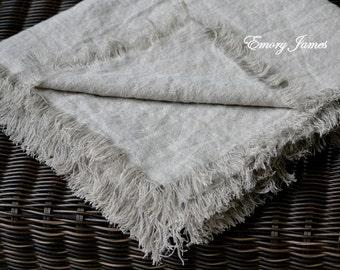 "Soft Linen Blanket 53"" x 70"" (140 cm x 178 cm) Natural Linen Throw, Organic Flax, Bed Scarf, Beach Blanket, Ready to Ship"