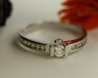 Solitaire Ring Brilliant Diamond Engagement Ring in 14k White Gold Siple Diamond Ring Ready To Ship