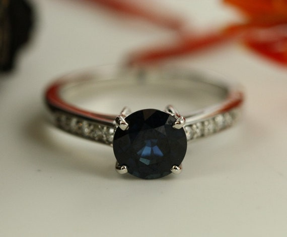 Blue Sapphire and Diamond Simple Engagement Ring Band in 14k