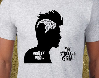 Monkey Mind Tee,Creative tshirt,cheap graphic tees,buy gifts online,cool birthday ideas,buddhist psychology,zen practice,zazen,spirituality