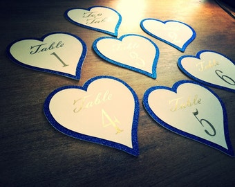 Heart shaped table numbers 1-13