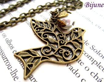 Bird necklace - Bird brass necklace - Big bird necklace -Bird jewelry - Bijunea bird jewelry necklace n459
