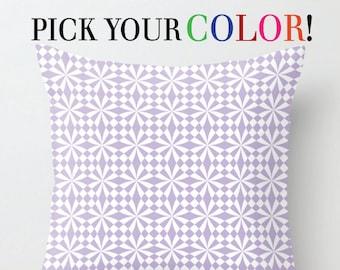 Geometric Cushion, Decorative Pillow, Decor Throw Pillow, Cushion Cover and Insert, Tulip White Black Green Purple Orange, 16x16 18x18 20x20