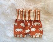 ORGANIC shorties, neutral gender, orange bears, tree bark, summer shorts