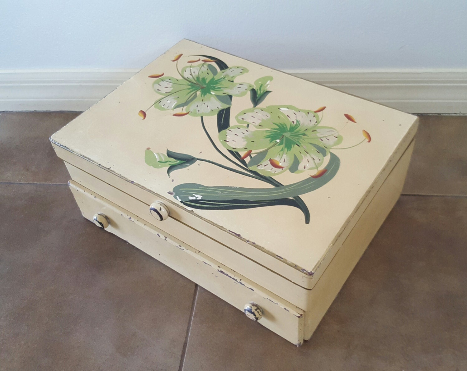Antique painted tiger lilies solid wood 2 drawer for Silverware storage no drawers
