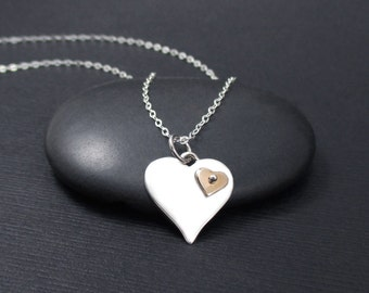 Heart Necklace Sterling Silver With Tiny Riveted Bronze Heart Charm