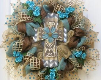 Cross Wreath, Teal and Burlap Cross Wreath, Deco Mesh Cross Wreath, Teal - Brown - Burlap - Cross Decor - Door Wreath - Decorative Cross