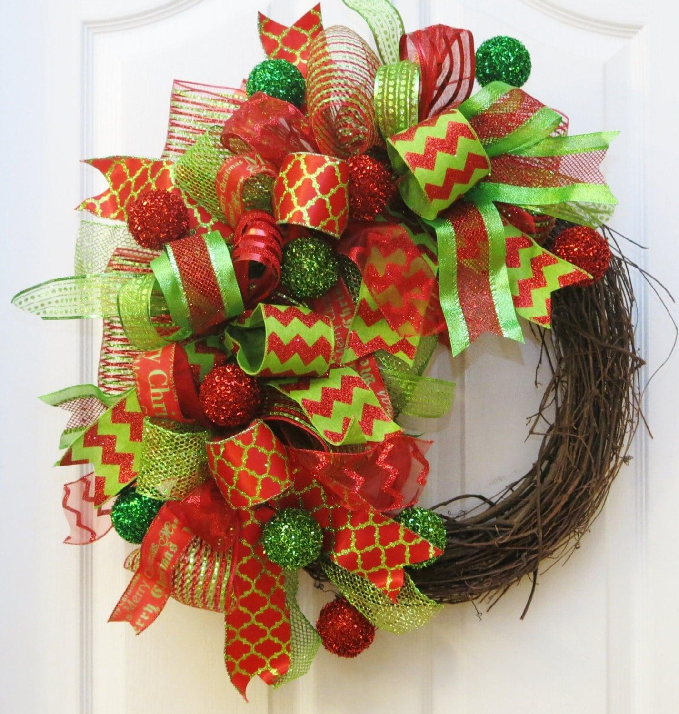 Christmas Wreath Funky Bow Christmas Wreath Christmas Deco