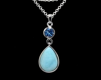 Larimar 10X14mm Necklace with 5mm Blue Topaz Accent .925 Sterling Silver