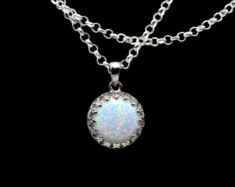 Fire Opal Crown Necklace 10mm Round Cabochon .925 Sterling Silver