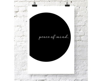 Poster art print inspirational quotes - peace of mind