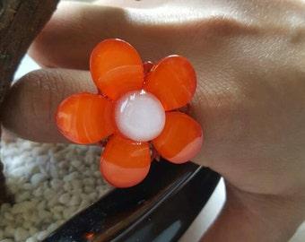 Red Daisy Summer Ring