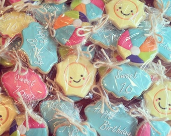 Pool Party Themed Sugar Cookies (12)