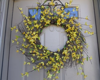 Spring forsythia sunburst wreath
