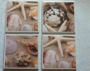 Beach tile coaster set