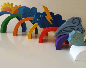 Color of the day rainbow stacker with weather toppers, weather toys, waldorf inspired, montessori inspired,