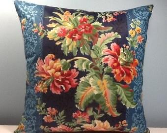 Tropical pillow. Hollywood regency. Coral hibiscus. Bahama style Tropical decor. 14x20 Chintz. Decorator lumbar pillow cover. Accent pillow.