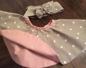 Handmade circle reversible skirt age 18 mths with matching headband