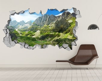 Green Mountains - Wall Decal - 3d Wallpaper - 3d wall decals - 3d printed - 3d wall art - 3d art - Wall Sticker - Wall Decal - SKU: GM3DM