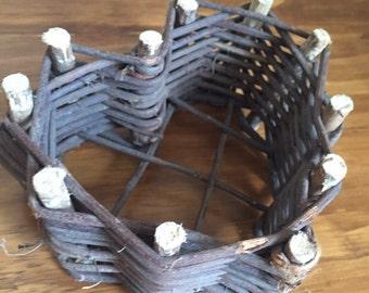 Vintage, woven heart basket, circa 1980s