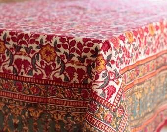 Tablecloth, square tablecloth, cotton tablecloth, floral tablecloth, rustic tablecloth, country kitchen, boho decor, kitchen decor, bohemian