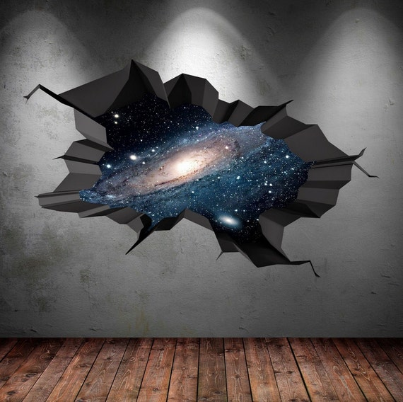 Earth Space Planet Galaxy Universe Cracked 3d Wall Sticker