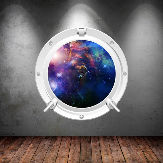 Porthole wall decal earth moon mars space galaxy wall sticker for Earth moon wall mural