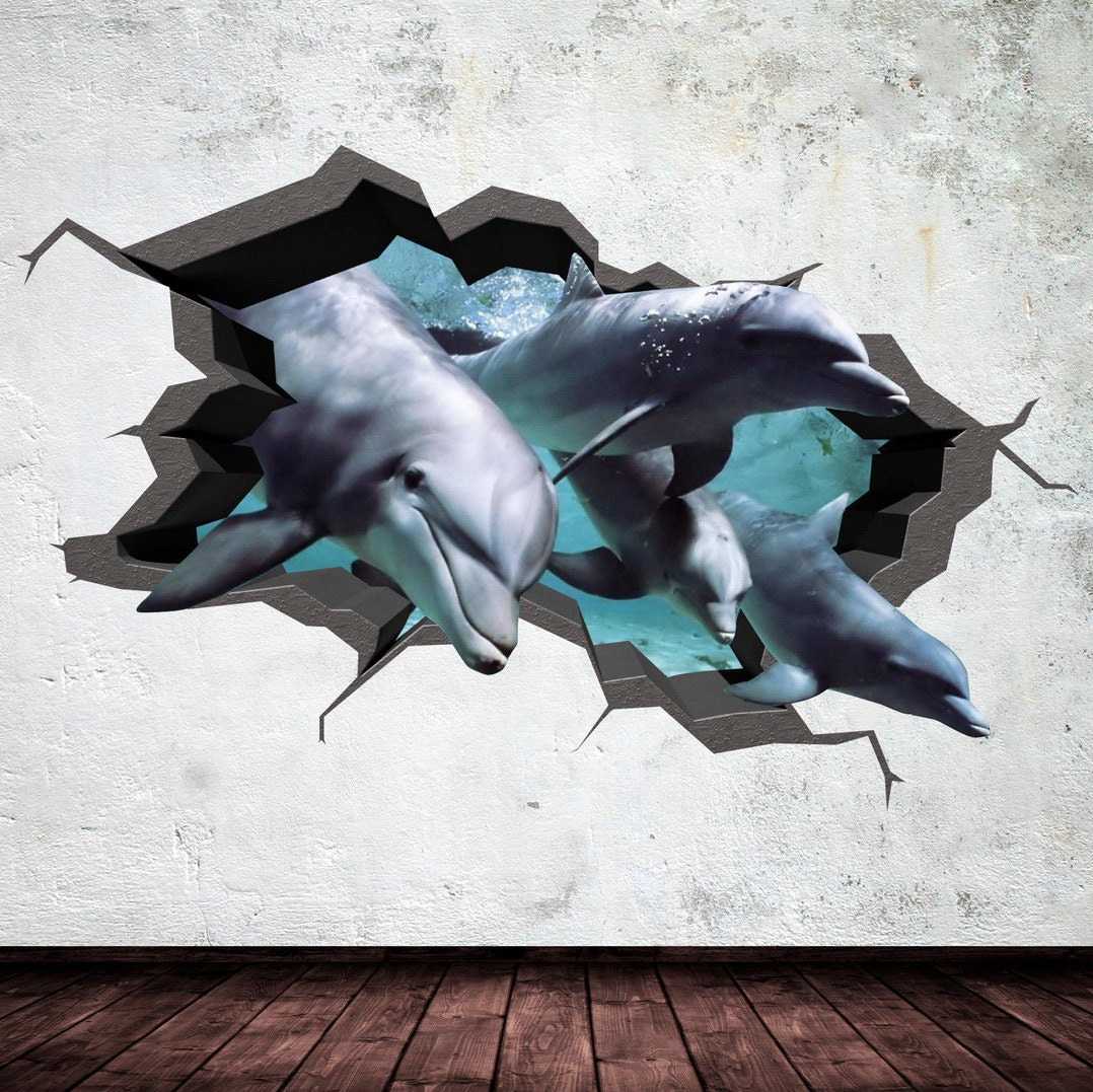 dolphin wall decal cracked 3d wall sticker mural decal graphic zoom