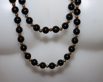One Black and Gold Colored Necklace, Double Stranded, Long, Very Elegant and Beautiful, Beaded Necklace, Professionally Done, Well Made NICE