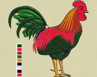 embroidery design Rooster Cock Chicken 4x4 pes hus jef in zip