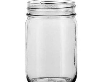 12 16oz Round Glass Mason Jars with Smooth Walls for Labels and Etching with Lids