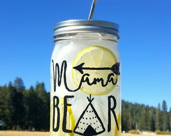 Hand-Painted Mama Bear 32oz Glass Mason Jar with Stainless Steel Straw - Glass Water Bottle - Personalized Glass Cup