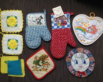 Pot Holders, Hot Pads, Oven Mitts, Care Bear, Mickey Mouse, Mary Engelbreit, Norwegian Troll, Hand Crocheted Flower, Queen Kitchen, Disney