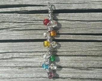 Rainbow beaded pendant