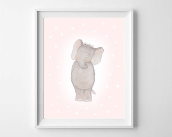 Elephant Nursery Art,Elephant Nursery,Elephant baby room,Elephant Kids ,Baby room Art,Elephant girls room,Elephant Children ArtCute Elephant