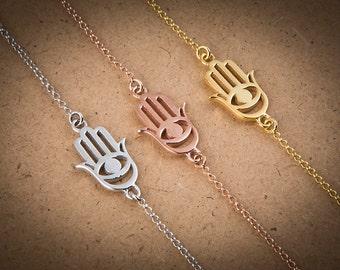 Hamsa Charm, Silver Hamsa, Yoga Bracelet, Evil Eye Hamsa, Gold Hamsa