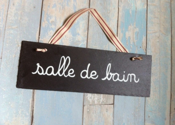 Items similar to french salle de bain bathroom sign home for Salle de bain door sign