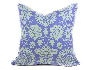 Damask pillow cover - Periwinkle and light blue pillow -  Light purple pillow - Floral pillow - Boho pillow - Nursery pillow