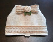 Burlap Wedding Dog Harness Vest with Lace/Burlap Bow and Trim for your Rustic Chic Wedding.  Dog Ring Bearer option.