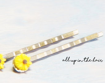 Yellow Daisy Bobby Pins - Small Flower Bobby Pins - Yellow Bobby Pins